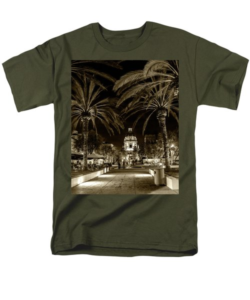 Men's T-Shirt  (Regular Fit) featuring the photograph Pasadena City Hall After Dark In Sepia Tone by Randall Nyhof