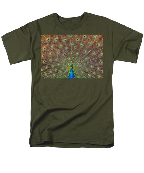 Men's T-Shirt  (Regular Fit) featuring the photograph Peacock Fanfare by Diane Alexander