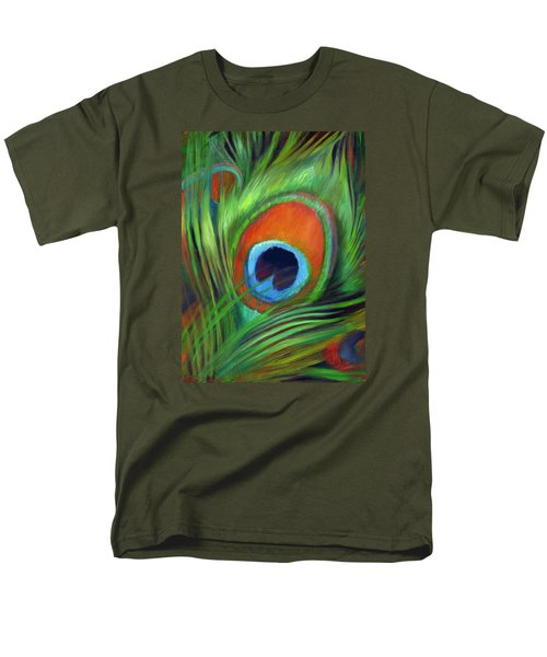 Men's T-Shirt  (Regular Fit) featuring the painting Peacock Feather by Nancy Tilles