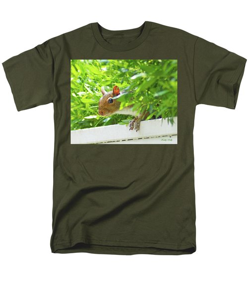 Peek-a-boo Gray Squirrel Men's T-Shirt  (Regular Fit) by Kathy Kelly