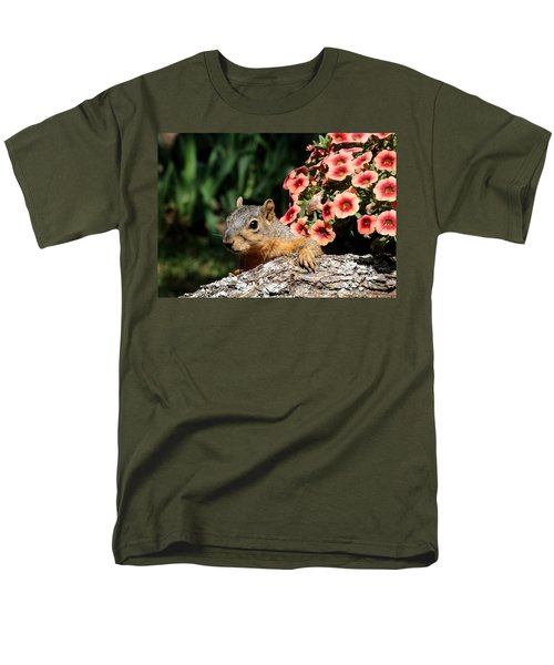Peek-a-boo Squirrel Men's T-Shirt  (Regular Fit) by Sheila Brown