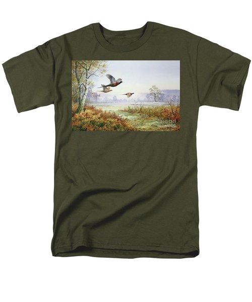 Pheasants In Flight  Men's T-Shirt  (Regular Fit) by Carl Donner