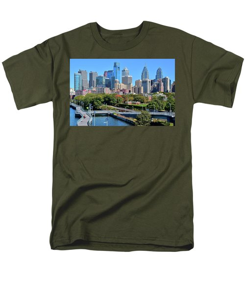Men's T-Shirt  (Regular Fit) featuring the photograph Philly With Walking Trail by Frozen in Time Fine Art Photography