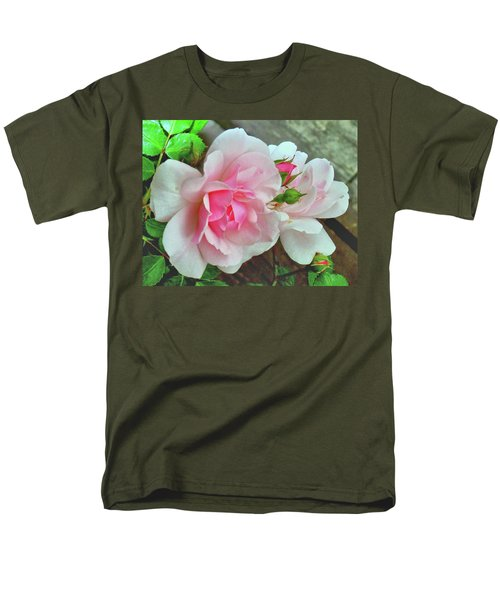 Men's T-Shirt  (Regular Fit) featuring the photograph Pink Cluster Of Roses by Janette Boyd
