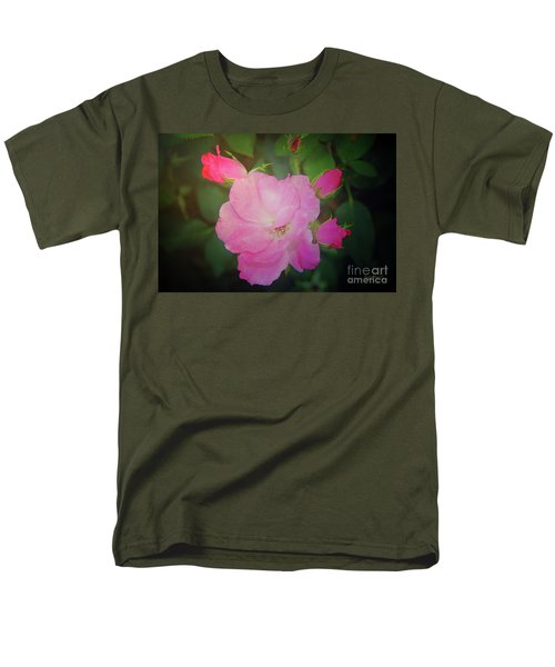 Pink Roses  Men's T-Shirt  (Regular Fit) by Inspirational Photo Creations Audrey Woods