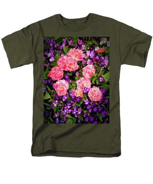 Pink Tulips With Purple Flowers Men's T-Shirt  (Regular Fit) by James Steele