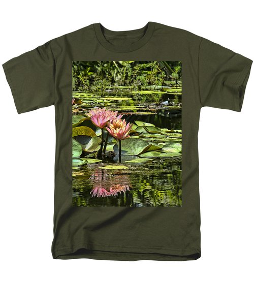 Pink Water Lily Reflections Men's T-Shirt  (Regular Fit)