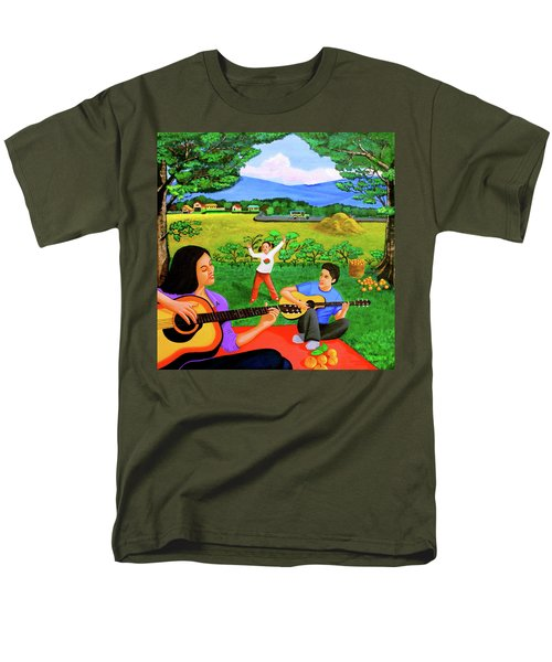 Men's T-Shirt  (Regular Fit) featuring the painting Playing Melodies Under The Shade Of Trees by Lorna Maza