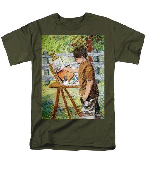 Men's T-Shirt  (Regular Fit) featuring the painting Plein-air Painter Boy by Gretchen Allen