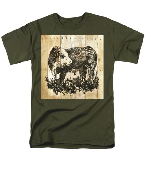 Men's T-Shirt  (Regular Fit) featuring the photograph Polled Hereford Bull 11 by Larry Campbell
