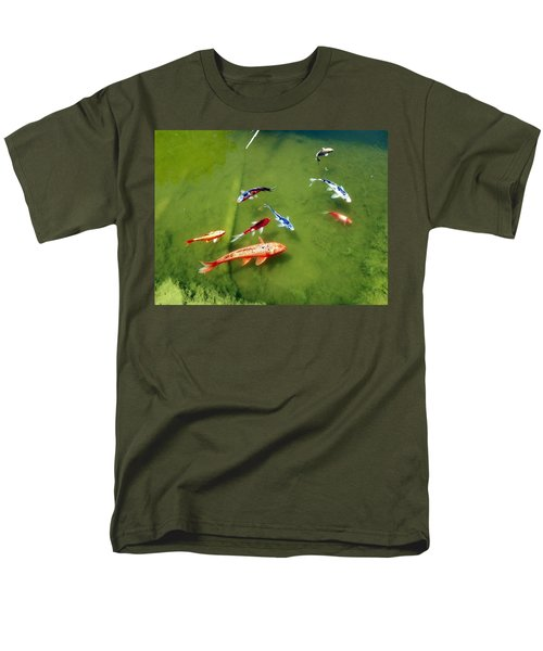Men's T-Shirt  (Regular Fit) featuring the photograph Pond With Koi Fish by Joseph Frank Baraba
