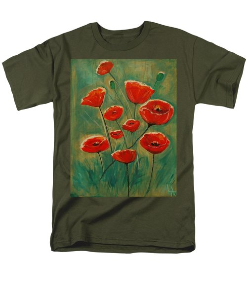 Men's T-Shirt  (Regular Fit) featuring the painting Poppy Surprise by Leslie Allen