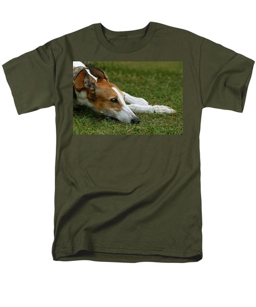 Men's T-Shirt  (Regular Fit) featuring the photograph Portrait Of A Greyhound - Soulful by Angela Rath