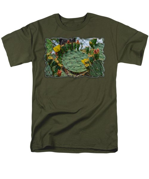 Prickly Pear Flowers H35 Men's T-Shirt  (Regular Fit) by Mark Myhaver