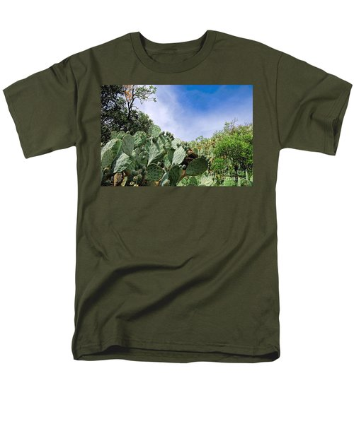 Men's T-Shirt  (Regular Fit) featuring the photograph Prickly Pear Hillside by Gina Savage