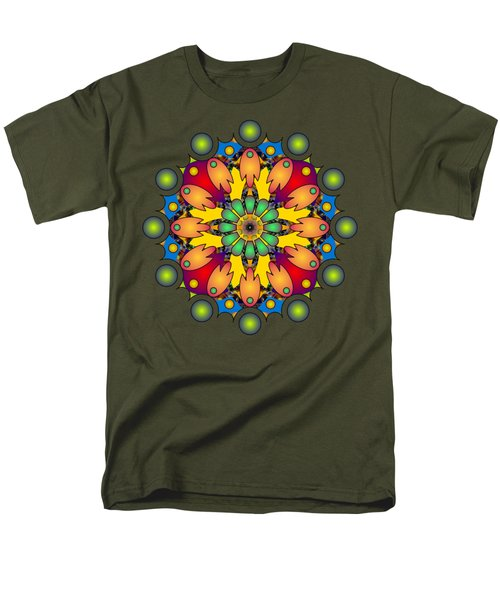 Psychedelic Mandala 009 A Men's T-Shirt  (Regular Fit) by Larry Capra