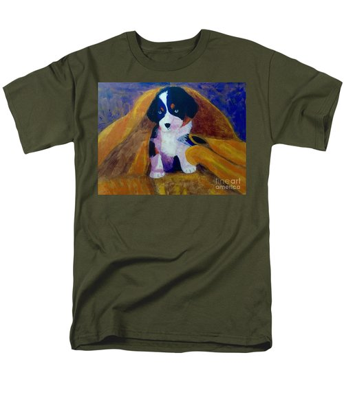 Men's T-Shirt  (Regular Fit) featuring the painting Puppy Bath by Donald J Ryker III