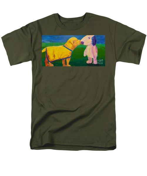 Men's T-Shirt  (Regular Fit) featuring the painting Puppy Say Hi by Donald J Ryker III
