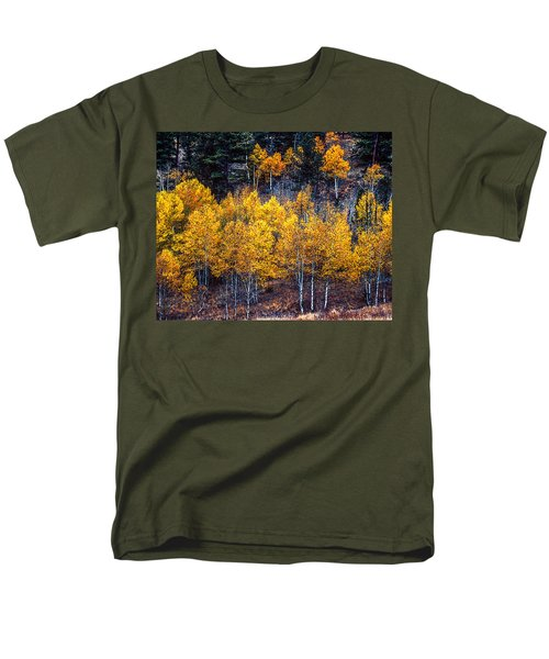 Aspen In Fall Colors In Eleven Mile Canyon Colorado Men's T-Shirt  (Regular Fit) by John Brink