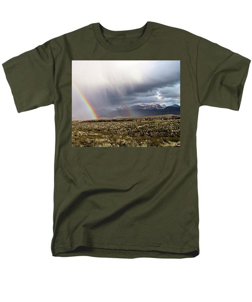 Men's T-Shirt  (Regular Fit) featuring the painting Rain In The Desert by Dennis Ciscel