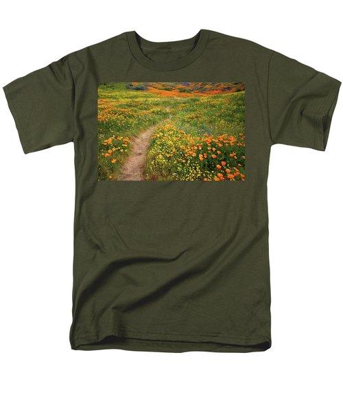 Rainbow Of Wildflowers Bloom Near Diamond Lake In California Men's T-Shirt  (Regular Fit) by Jetson Nguyen