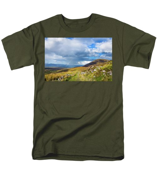 Men's T-Shirt  (Regular Fit) featuring the photograph Raining Down And Sunshine With Rainbow On The Countryside In Ire by Semmick Photo