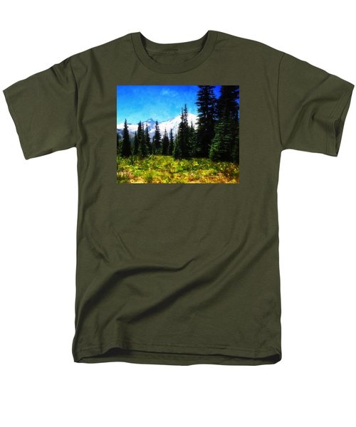 Men's T-Shirt  (Regular Fit) featuring the photograph Ranier Mountain Meadow by Timothy Bulone