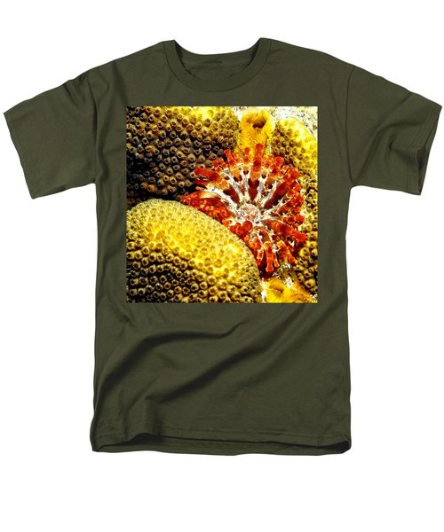 Rare Orange Tipped Corallimorph - Fire In The Sea Men's T-Shirt  (Regular Fit) by Amy McDaniel