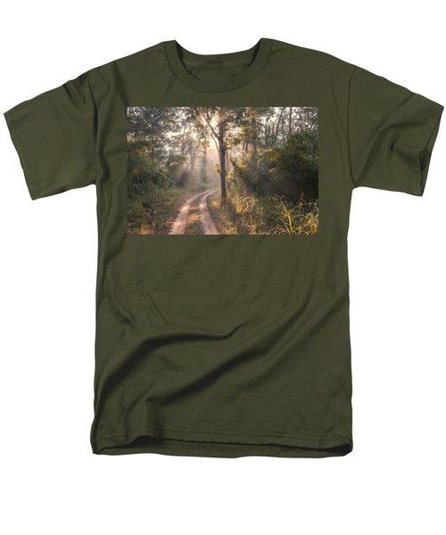 Rays Through Jungle Men's T-Shirt  (Regular Fit) by Hitendra SINKAR