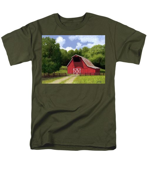 Men's T-Shirt  (Regular Fit) featuring the painting Red Barn In Franklin Tn by Janet King