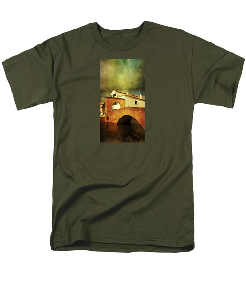 Men's T-Shirt  (Regular Fit) featuring the photograph Red Bridge With Storm Cloud by Anne Kotan
