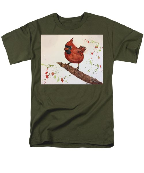 Men's T-Shirt  (Regular Fit) featuring the painting Red Cardinal by Lucia Grilletto