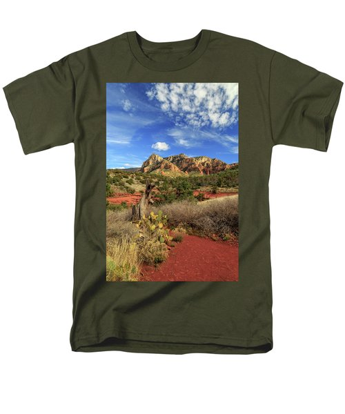 Men's T-Shirt  (Regular Fit) featuring the photograph Red Dirt And Cactus In Sedona by James Eddy