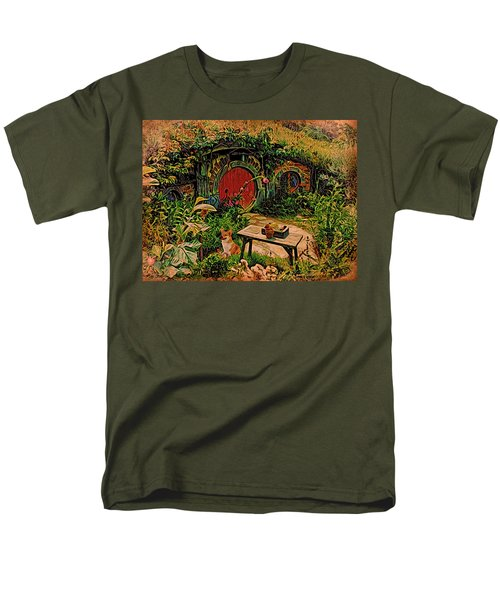 Red Door Hobbit House With Corgi Men's T-Shirt  (Regular Fit) by Kathy Kelly