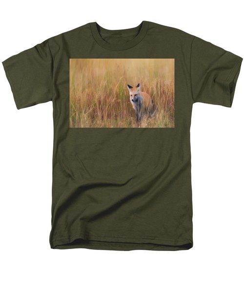 Men's T-Shirt  (Regular Fit) featuring the photograph Red Fox Hunting  by Kelly Marquardt