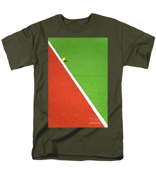 Red Green White Line And Tennis Ball Men's T-Shirt  (Regular Fit) by Silvia Ganora