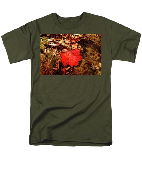 Men's T-Shirt  (Regular Fit) featuring the photograph Red Leaf by Meta Gatschenberger