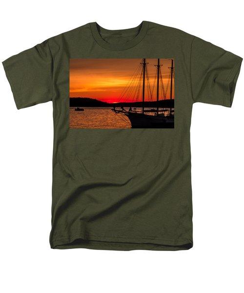 Red Maine Sunrise Men's T-Shirt  (Regular Fit) by Steven Bateson