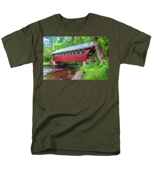 Red Mill Covered Bridge Men's T-Shirt  (Regular Fit) by Trey Foerster
