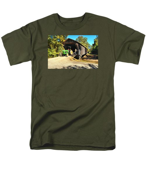 Red Oak Creek Covered Bridge And Tractor Men's T-Shirt  (Regular Fit) by James Potts