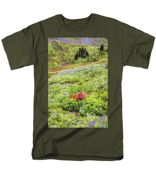 Men's T-Shirt  (Regular Fit) featuring the photograph Red Rock Of Rainier by Pierre Leclerc Photography