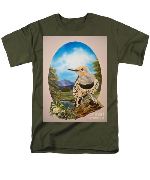 Men's T-Shirt  (Regular Fit) featuring the painting Red Shafted Flicker by Sigrid Tune