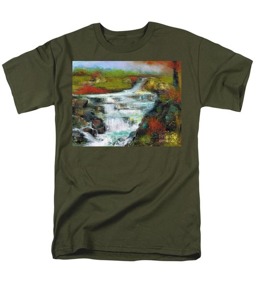 Yellow Fields With Red Sumac Men's T-Shirt  (Regular Fit) by Frances Marino