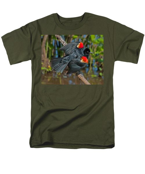Red-winged Blackbird Men's T-Shirt  (Regular Fit) by Suzanne Stout