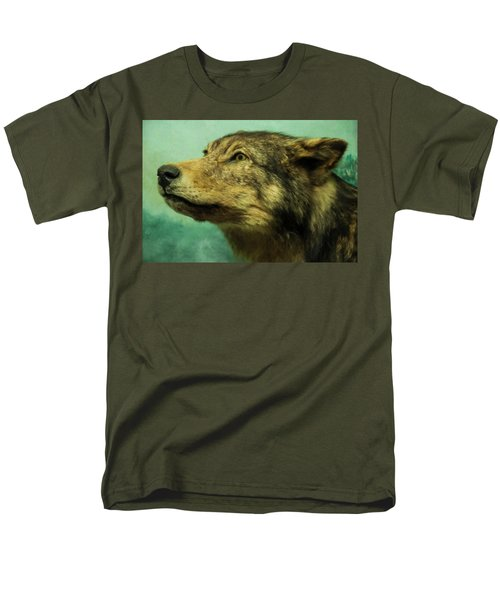 Men's T-Shirt  (Regular Fit) featuring the digital art Red Wolf Digital Art by Chris Flees