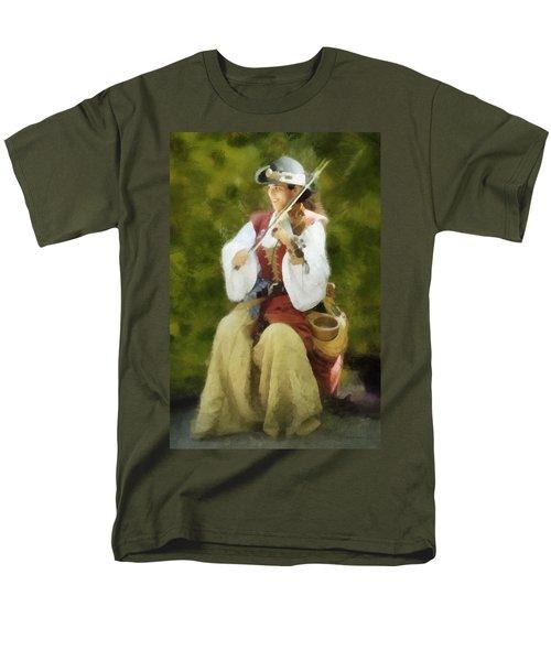 Men's T-Shirt  (Regular Fit) featuring the digital art Renaissance Fiddler Lady by Francesa Miller