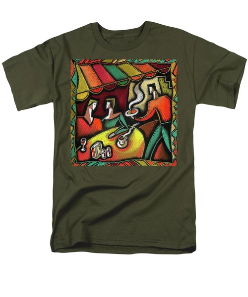 Men's T-Shirt  (Regular Fit) featuring the painting Restaurant by Leon Zernitsky