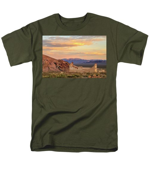 Men's T-Shirt  (Regular Fit) featuring the photograph Rhyolite Bank At Sunset by James Eddy