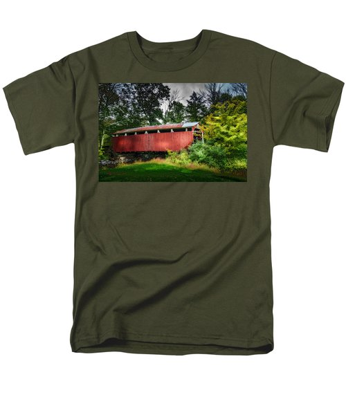 Men's T-Shirt  (Regular Fit) featuring the photograph Richards Covered Bridge by Marvin Spates