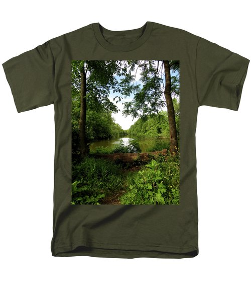 Men's T-Shirt  (Regular Fit) featuring the photograph River Bend Seating by Kimberly Mackowski
